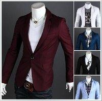 Wholesale Men Shiny Blazer - Men Business Formal Blazer Suits Long Sleeve Cotton Label Neck Solid Suit For Men Multi-color Plus Size Slim Men Shiny Suit Blazers J160406