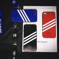 Wholesale clover iphone - .Twill clover strap lanyard couple models phone shell case for iphone X 7 7 Plus 8 8 TPU silicone soft edge cover for iphone 6 6S 6 plus