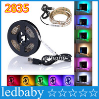 Wholesale 5v light controller resale online - 5V USB Cable LED Strip Light Lamp SMD3528 cm cm cm Christmas Flexible Led Strip Light with Mini Controller TV Background Lighting