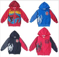 Wholesale Spiderman Embroidered - Children Winter Hoodies Sweatshirts Autumn Long Sleeve Coat Boys Spiderman Embroidered 100% Cotton Kids Cartoon Clothe Baby Outerwear 2-8T