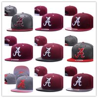 Wholesale Reflective Hats - Free Shipping Men's Alabama Crimson Tide NCAA Snapback Hats In Black Color Reflective Design USA College Letter A Logo Adjustable Caps