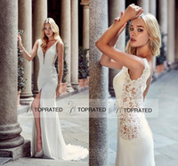 Wholesale Beaded Dress Slit Skirt - 2017 Boho Sexy Greek Goddess Fashion Sheath Wedding Dresses with Sheer Deep Plunging V Neck Front Split Beaded Low Back Bridal Gowns Beach