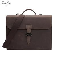 """Wholesale Messenger Bag 13 Men - Wholesale- Vintage Men's Genuine Leather briefcase Fit 13"""" Laptop Cowhide Business handbag messenger bag for business travel Work tote"""