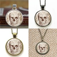 Wholesale Wholesale Goth Jewelry - 10pcs Skull Spooky goth Halloween Pendant Jewelry glass Necklace keyring bookmark cufflink earring bracelet