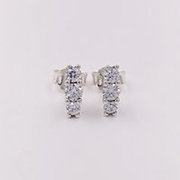 Wholesale Rhodium Stud Earrings - Authentic 925 Sterling Silver Studs Sparkling Elegance Stud Earrings Fits European Pandora Style Jewelry 290725CZ