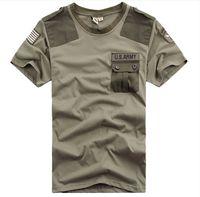 camiseta del ejército libre al por mayor-Nueva marca gratis Knight Outdoor U.S. Ejército de manga corta camiseta de los hombres Airborne Tee Shirts Tops de algodón de verano de alta calidad M-XXXL
