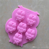 Wholesale Silicone Molds Cake Animal - 30pc 3D Animal Owl Shape Chocolate Silicone Mold Bakeware Cake Tools Cute Owl Mould 6 Cups Cake Cookie Icecream Candy Molds 2105