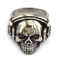 Wholesale Skull Dj Headphones - Wholesale DJ Skull Ring For Men Wearing Headphone Skull Ring Free Shipping Unique Design Biker Ring
