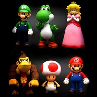 Pêcheresse de fête Prix-6PCS / Set Super Mario Figurines d'action Collection GCA Brothers Mini Figurines Figurines Craies De Peach Luigi Yoshi Donkey Kong PVC Figurines D'Action Toy