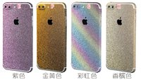 Wholesale Glitter Stickers For Phones - Bling Leopard Wooden Sticker Full Body For Iphone 7 Plus Iphone7 Front Back Shiny Glitter Litchi PU Phone Film Skin Colorful Luxury Package