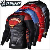 Wholesale Batman Superman Shirts - 2016 New Fitness Compression Shirt superhero Sport Wear Men Superman Captain America Batman Spiderman Iron Man Sport T-shirt Fitness Wear