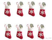 ropa roja caliente al por mayor-2016 Hot s Interior Navidad Decoraciones Rojo Blanco Nieve Medias vajilla Bolsa (12pcs / lot, 6 ropa 6 pantalones)