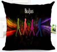 Wholesale Beatles Pillows - Cushion Cvoer Vintage The Beatles Souvenir Pillow Case Cotton Linen Chair Sofa Throw Pillow Cover