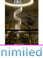 nimi673 18/31/46 Lumières long Chandelier Penthouse Stair Lampe LED Bubble cristal Colonne Villa Living Room Lampes suspendues Spiral Lighting