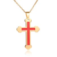 Wholesale Wholesale Dubai Gold Plated - Factory Direct 316L Stainless Steel Maxi Necklace Dubai Gold Plated Cross Pendant Necklace For Christmas Gift