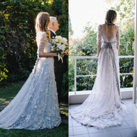 Wholesale Elie Saab Mermaid Wedding Dresses - 2016 Elie Saab Wedding Dresses Vintage Country Pale Blue Bridal Gowns with Sheer Half Sleeves Handmade Appliques Garden Ribbon