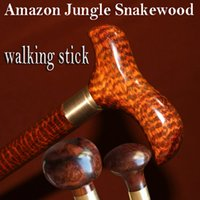 Wholesale Natural Cane - Woodcraft Trekking hiking trip cane Quality hiking tips Replaceable Knob Authentic natural Snakewood Walking stick for grandfather man gift