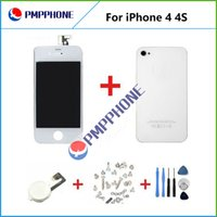 Wholesale Iphone Replacement Screws - Good Quality LCD Touch Digitizer+Back cover+Home button+Screws+Tools with Frame complete Full Assembly Replacement for iPhone 4 4s