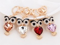 Wholesale Europe Owl - Cute Owl Key Chains with Heart Glass Europe and America Style Animals Car Keychains for Women and Girls mty-012