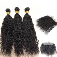 Wholesale 7a human hair closure resale online - 7A Virgin Brazilian Warter Wavy Hair Bundles With Lace Frontal Closure B Peruvian Human Hair Bundles With Frontal Deal Forawme Free Part