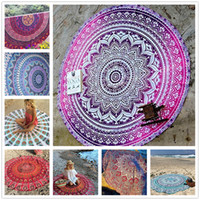 Wholesale Beach Towel White Orange - Chiffon Round Beach Towel 150*150cm 59*59'' Bath Towel Decor Geometric Printed Bath Towel Summer Style Shawl Tippet 14 Patterns Sarong