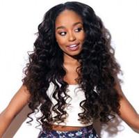 pelucas delanteras del cordón de las ondas sueltas al por mayor-130% Denstiy Lace Front pelucas de cabello humano para mujeres negras con cabello de bebé Pre arrancado indio suelta Wave peluca de encaje G-EASY