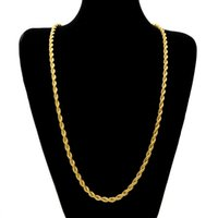 14k schwere goldketten großhandel-6.5mm dick 80cm lange feste Seil verdrehte Kette 14K Gold versilbert Hip Hop verdrehte schwere Halskette 160gram für Herren