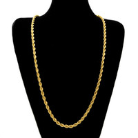 Wholesale Heavy Twist Chain - 6.5mm Thick 80cm Long Solid Rope Twisted Chain 14K Gold Silver Plated Hip hop Twisted Heavy Necklace 160gram For mens