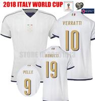 Wholesale Italy World Cup Jerseys - 2018 World Cup Qualification Italy Soccer jersey White Away Bonucci Pelle VERRATTI De Rossi Chiellini Italia maglia Football Shirts Kit