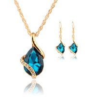 Wholesale Bridal Jewelry Set Blue - New Women Crystal Jewelry Set Water Drop Crystal Necklace Earrings Set Wedding Bridal Dress Accessories Jewelry Sets
