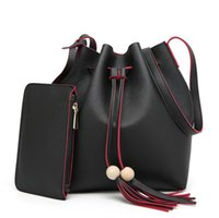Wholesale Drawstring Coin Purse - fashion tassel bags Women's bucket bag PU leather shoulder bag girls lady drawstring bags handbag with wallet purse coin bag