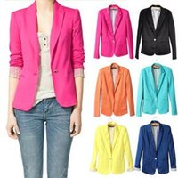 Wholesale Candy Colored Blazers - New products women blazer jackets candy-colored 2016 spring long-sleeve Slim single button suit foldable coat casual ladies cotton spandex j