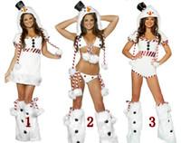 santa elbiseli kıyafetler toptan satış-Seksi Claus Santa Fantezi Elbise Kostüm Bayan Noel partisi Noel Kulübü Kıyafet BS