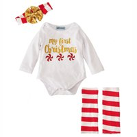 Wholesale Girl 2t Rompers Wholesale - New Arrival Baby Rompers Suits Sets Newborn Girls my first christmas letter printed sets Rompers + Socks + Headband 3PCS Set Outfits A7329