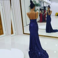 Wholesale Halter Mermaid Dress Bling - Bling Bling 2017 Sequined Dress Halter Sleeveless Open Back Blue Sequins Mermaid Evening Party Gowns Prom Dress Cheap Pageant Dress