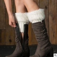 Wholesale Wholesale Winter Covers Free Shipping - Ankle Boot Covers Faux Fur Knit Boot Cuffs Shaggy Women Leg Warmers Winter Crochet Knitted Warmers Toppers Acrylon Cover Socks Free Shipping