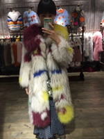 Wholesale Knitted Fur Jackets Women - real fox fur coat Knitted fur coat women natural fox fur jacket white yellow