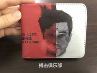 Wholesale Card Clubs - Fight Club Bifold Wallet Coin Purse Zipper Pocket Short Student Photo Card Holder Character Fatshion Wallets New