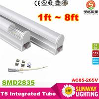 Wholesale T5 Super White - Super Bright 45W 8ft T5 Led Tubes Lights 2.4m Integrated 192pcs SMD2835 Led Fluorescent Lamp 110lm W AC85-277V Warm Natrual Cold White