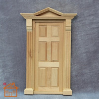Wholesale Dollhouse Wood - Wholesale-1:12 Dollhouse Door with Frame for Miniature Exterior Wood Furniture Doll Home Decorations