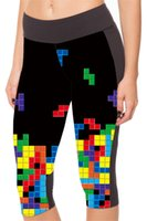 Wholesale Women Tetris - Lady Slim Sports Cropped High Waist Fashion Fitness Yoga Leggings Europe Quick Dry Elastic Capri Pants Quick Dry Tetris game LN7Slgs
