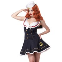 Wholesale Adult Sea Costume - Wholesale-2016 NEW Sexy Sailors & Sea Costumes Sleeveless V-Neck Navy Blue Anchors Away Adult Women Sailor Costume