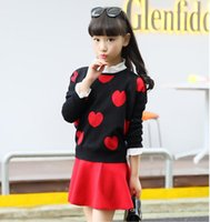 Wholesale Wholesale Heart Jumpers - Autumn Winter Kids Outfits Red Black Color Star Heart Patterns Sweater Kids Outerwear Girls Sweater for 4~16 Year Kids