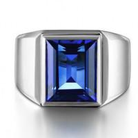 mavi safir elmas yüzük toptan satış-Victoria Wieck Erkekler Moda Takı Solitaire 10ct Mavi Safir 925 Ayar gümüş Benzetilmiş Pırlanta Alyans parmağı Yüzük Hediye Size8-13