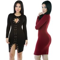 Wholesale Ladies Hot Red Night Dress - New Hot Good Selling Ladies Women Fashion Long-sleeved Sexy Nightclub Slim Skirt Bandage Dress Clothes 2294