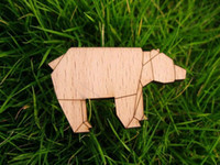 Wholesale Laser Cut Brooch - laser cut and engrave rhino wooden brooch