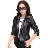 Wholesale Cheap Leather Motorcycle Jacket - Wholesale-Hot New 2016 Women Faux Leather Jackets jaqueta couro Winter Coat veste en cuir femme Black Red Biker Motorcycle Jacket Cheap Z1