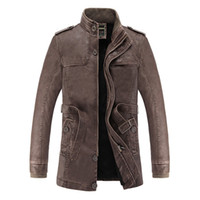 Wholesale Slim Leather Stand Collar - Winter Leather Jacket Men Fax Fur Liner Slim Fit Motercycle Jaqueta De Couro Masculino PU Leather Jacket Bomber Chaqueta M-3XL
