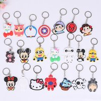 Wholesale Silver Plated Wedding Favors - Wholesale Cute Cartoon Mickey Mouse Hello Kitty Skeleton Car Key Chains Many Styles Keychain Wedding Favors Key ring Holders