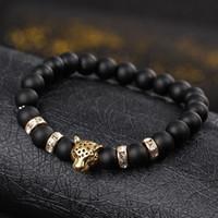 Wholesale Lucky Charm Stone Bracelets - Natural stone Beads men bracelets Lucky Charm Matte Black Natural stone Beads Onyx Stone Matt Tiger Leopard Bracelets for men